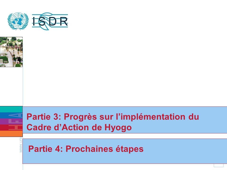 www.unisdr.org 21 Partie 4: Prochaines étapes Partie 3: Progrès sur limplémentation du Cadre dAction de Hyogo