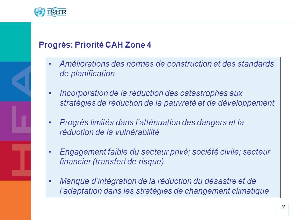 www.unisdr.org 28 Progrès: Priorité CAH Zone 4 Améliorations des normes de construction et des standards de planification Incorporation de la réductio