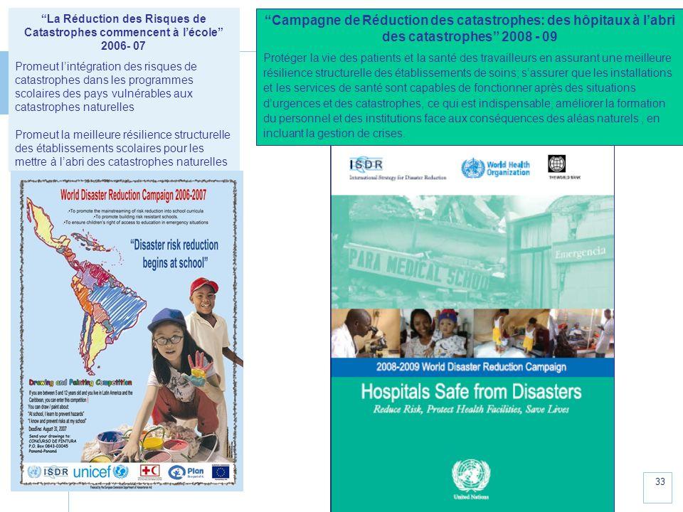 www.unisdr.org 33 La Réduction des Risques de Catastrophes commencent à lécole 2006- 07 Promeut lintégration des risques de catastrophes dans les prog