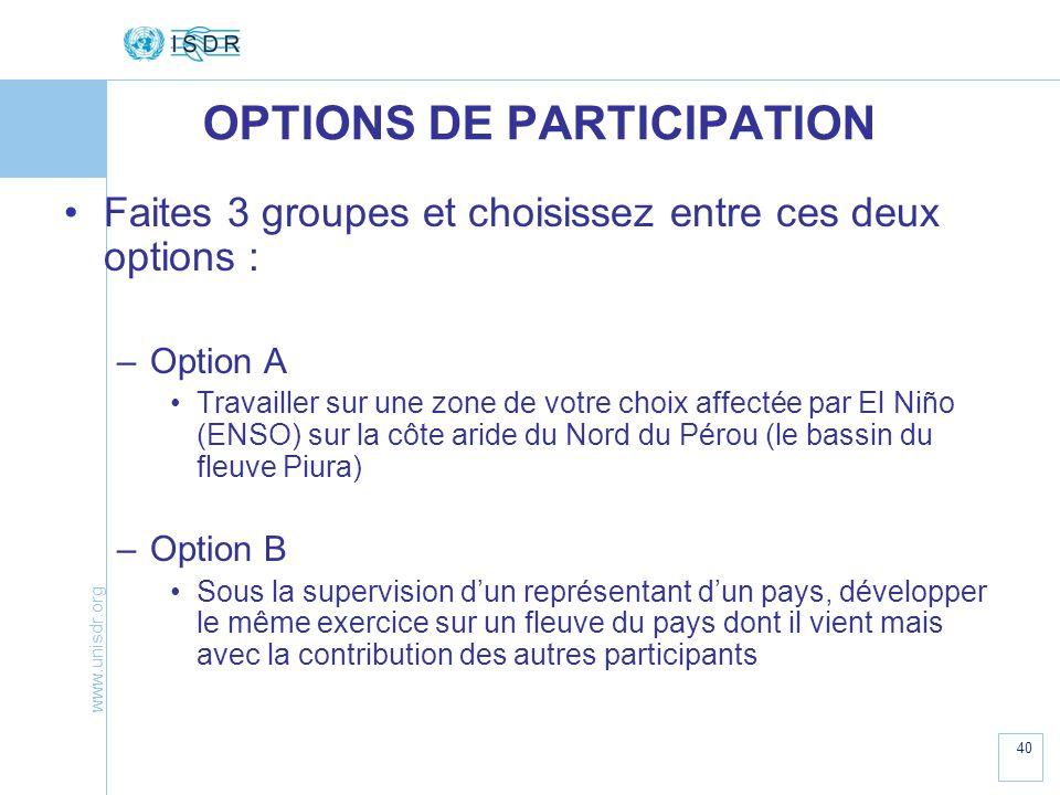 www.unisdr.org 40 OPTIONS DE PARTICIPATION Faites 3 groupes et choisissez entre ces deux options : –Option A Travailler sur une zone de votre choix af