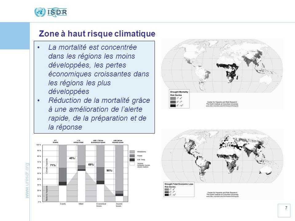 www.unisdr.org 7 Zone à haut risque climatique La mortalité est concentrée dans les régions les moins développées, les pertes économiques croissantes