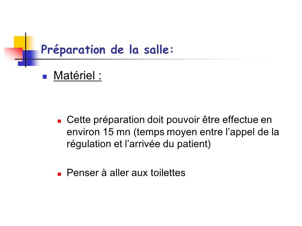Préparation de la salle: Matériel : Cette préparation doit pouvoir être effectue en environ 15 mn (temps moyen entre lappel de la régulation et larriv