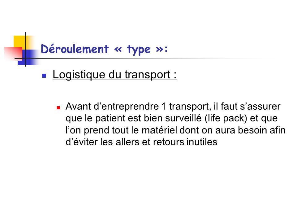 Déroulement « type »: Logistique du transport : Avant dentreprendre 1 transport, il faut sassurer que le patient est bien surveillé (life pack) et que