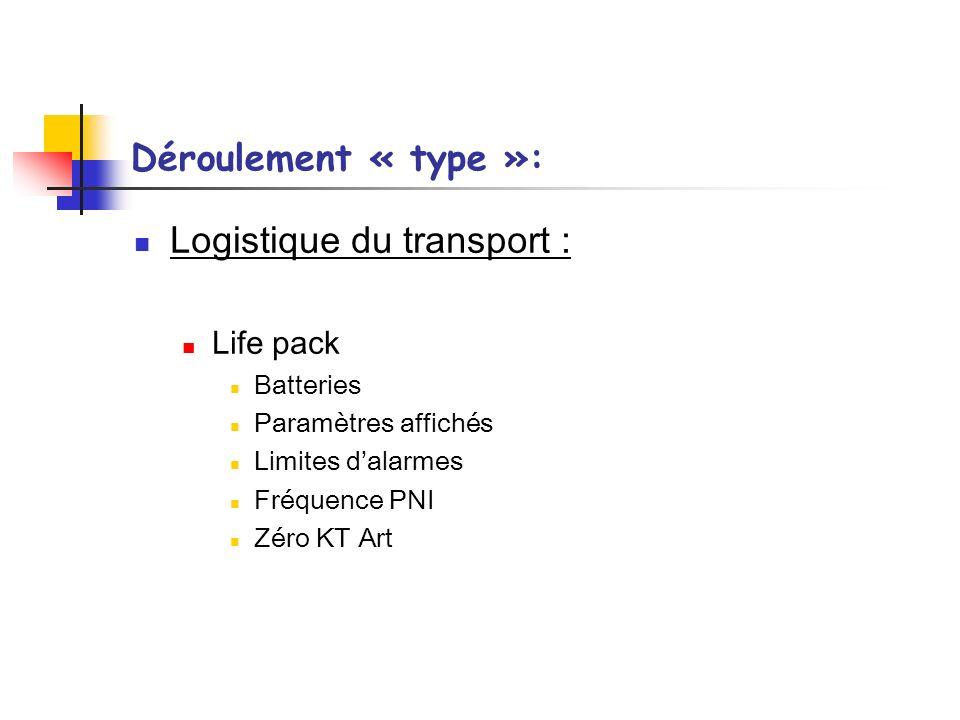 Déroulement « type »: Logistique du transport : Life pack Batteries Paramètres affichés Limites dalarmes Fréquence PNI Zéro KT Art
