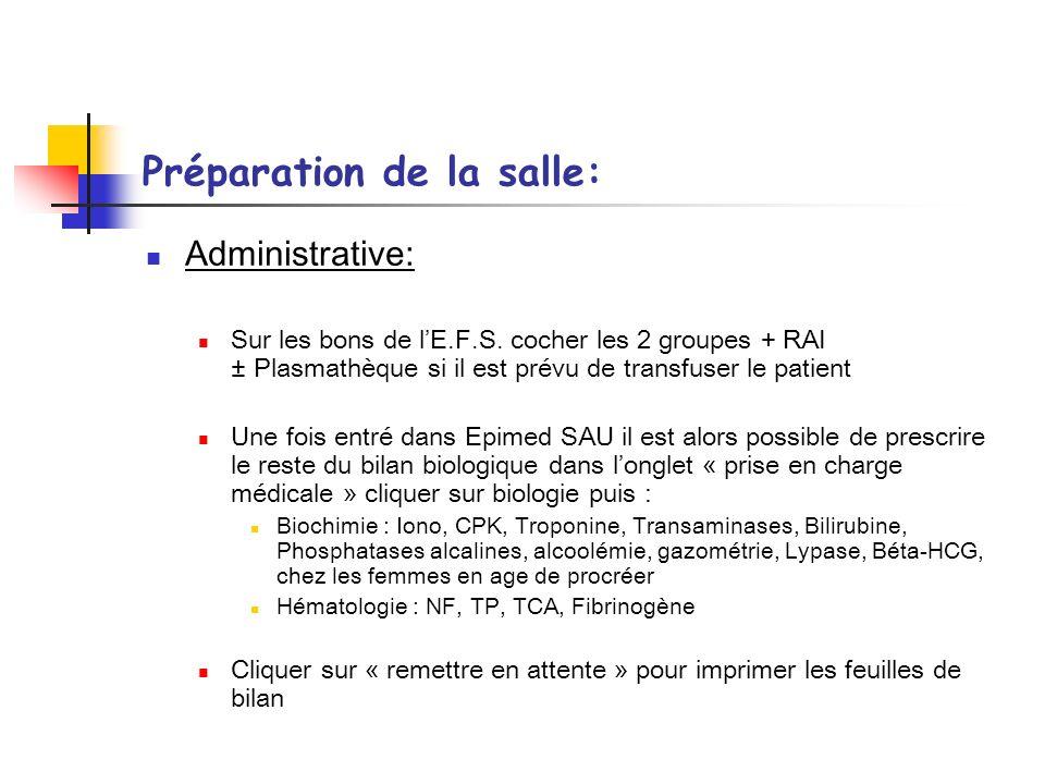 Préparation de la salle: Administrative: Sur les bons de lE.F.S. cocher les 2 groupes + RAI ± Plasmathèque si il est prévu de transfuser le patient Un