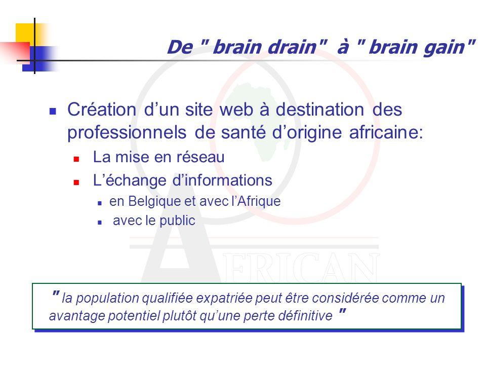 De brain drain à brain gain Création dune clinique qui sintéresserait en priorité aux pathologies propres aux africains.