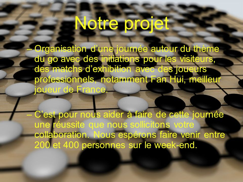 Notre projet –Organisation dune journée autour du thème du go avec des initiations pour les visiteurs, des matchs dexhibition avec des joueurs professionnels, notamment Fan Hui, meilleur joueur de France.