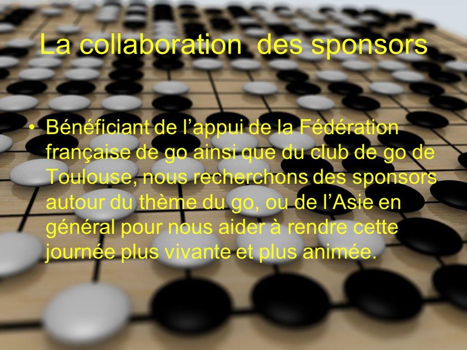 La collaboration des sponsors Bénéficiant de lappui de la Fédération française de go ainsi que du club de go de Toulouse, nous recherchons des sponsors autour du thème du go, ou de lAsie en général pour nous aider à rendre cette journée plus vivante et plus animée.