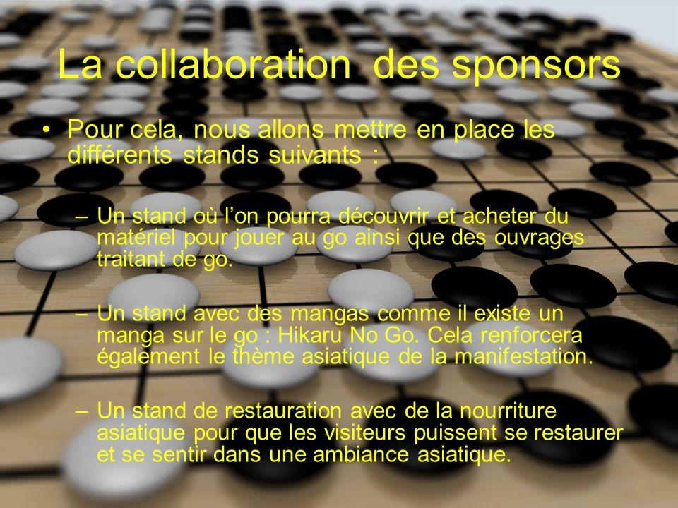 La collaboration des sponsors Pour cela, nous allons mettre en place les différents stands suivants : –Un stand où lon pourra découvrir et acheter du matériel pour jouer au go ainsi que des ouvrages traitant de go.