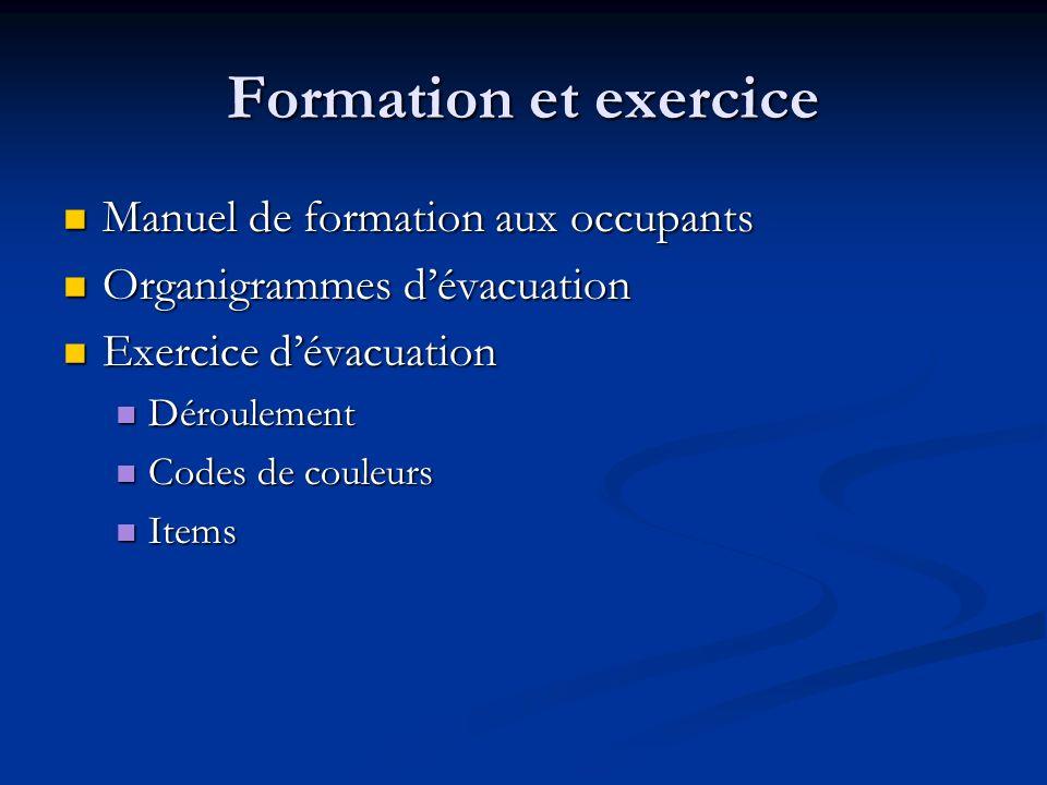 Formation et exercice Manuel de formation aux occupants Manuel de formation aux occupants Organigrammes dévacuation Organigrammes dévacuation Exercice