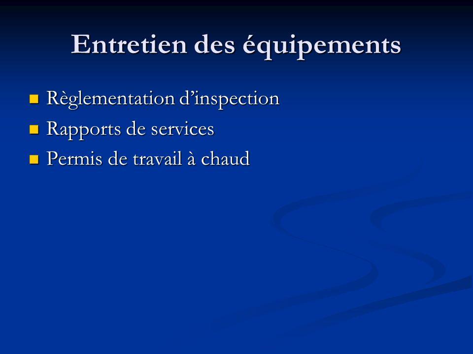 Entretien des équipements Règlementation dinspection Règlementation dinspection Rapports de services Rapports de services Permis de travail à chaud Pe