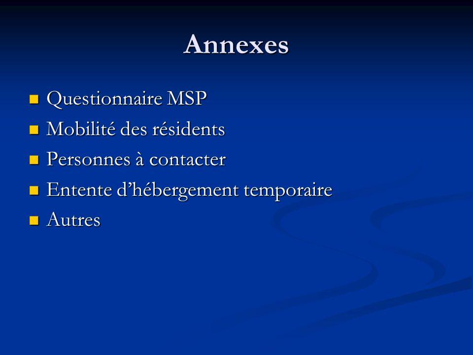 Annexes Questionnaire MSP Questionnaire MSP Mobilité des résidents Mobilité des résidents Personnes à contacter Personnes à contacter Entente dhéberge