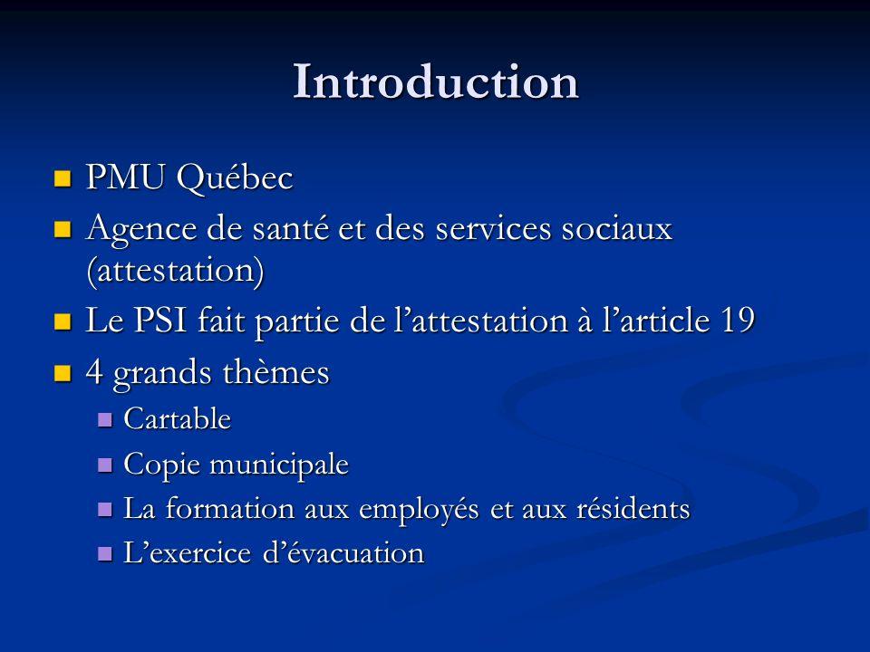 Introduction PMU Québec PMU Québec Agence de santé et des services sociaux (attestation) Agence de santé et des services sociaux (attestation) Le PSI