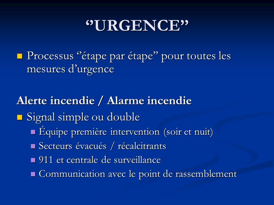 URGENCE Processus étape par étape pour toutes les mesures durgence Processus étape par étape pour toutes les mesures durgence Alerte incendie / Alarme