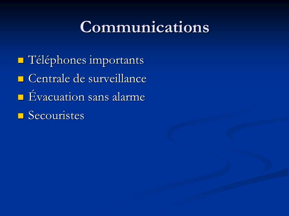 Communications Téléphones importants Téléphones importants Centrale de surveillance Centrale de surveillance Évacuation sans alarme Évacuation sans al