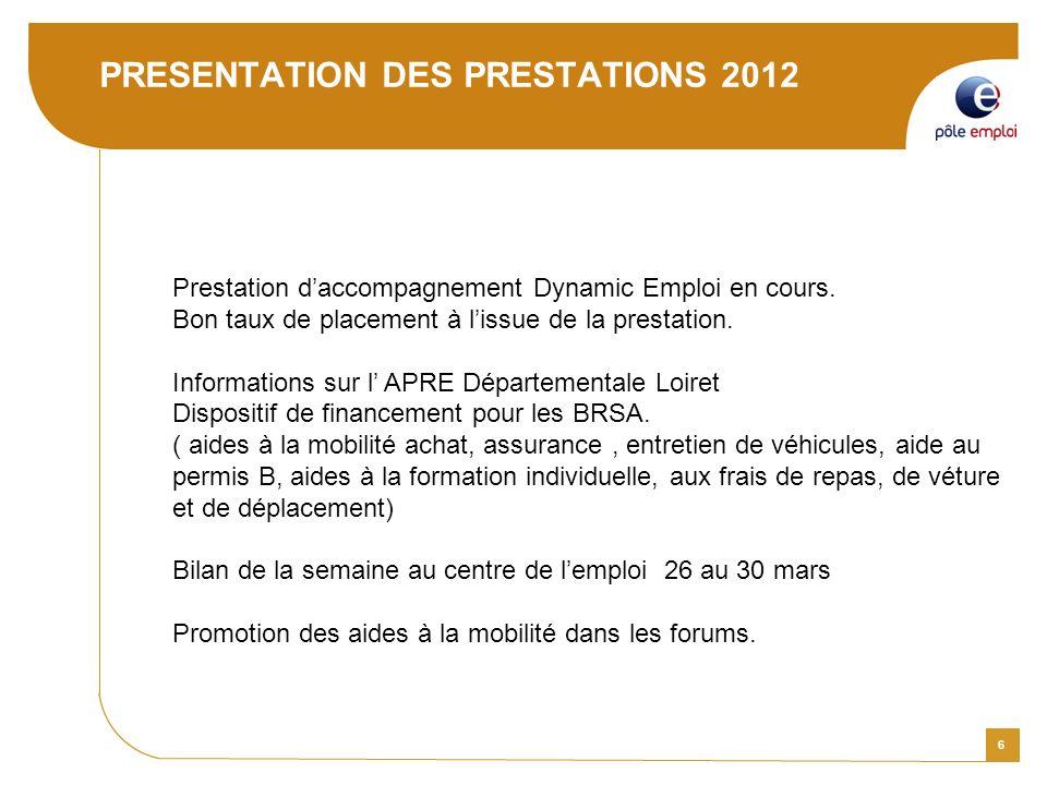 6 PRESENTATION DES PRESTATIONS 2012 Prestation daccompagnement Dynamic Emploi en cours. Bon taux de placement à lissue de la prestation. Informations