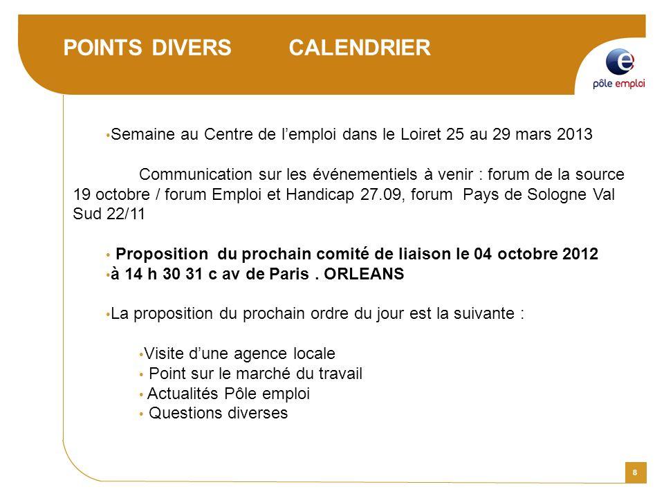8 POINTS DIVERS CALENDRIER Semaine au Centre de lemploi dans le Loiret 25 au 29 mars 2013 Communication sur les événementiels à venir : forum de la so