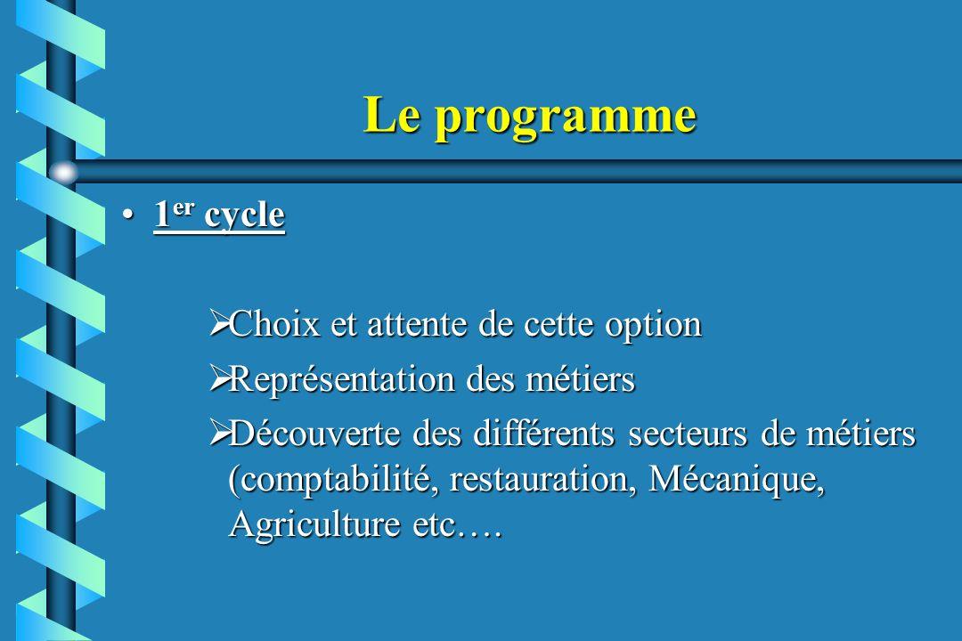 Le programme 1 er cycle1 er cycle Choix et attente de cette option Choix et attente de cette option Représentation des métiers Représentation des méti