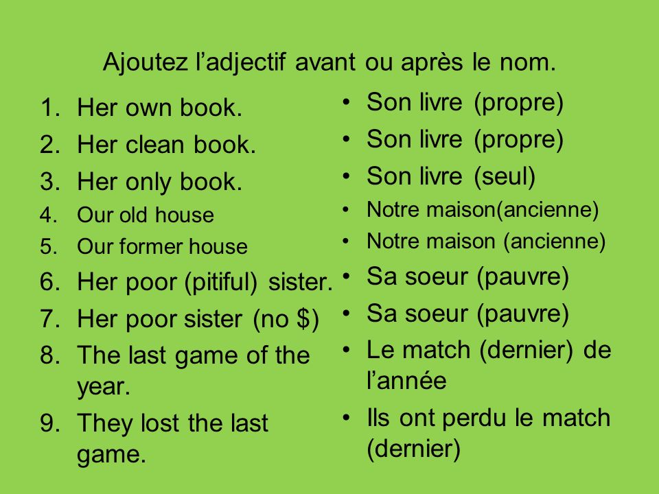 Ajoutez ladjectif avant ou après le nom. 1.Her own book. 2.Her clean book. 3.Her only book. 4.Our old house 5.Our former house 6.Her poor (pitiful) si