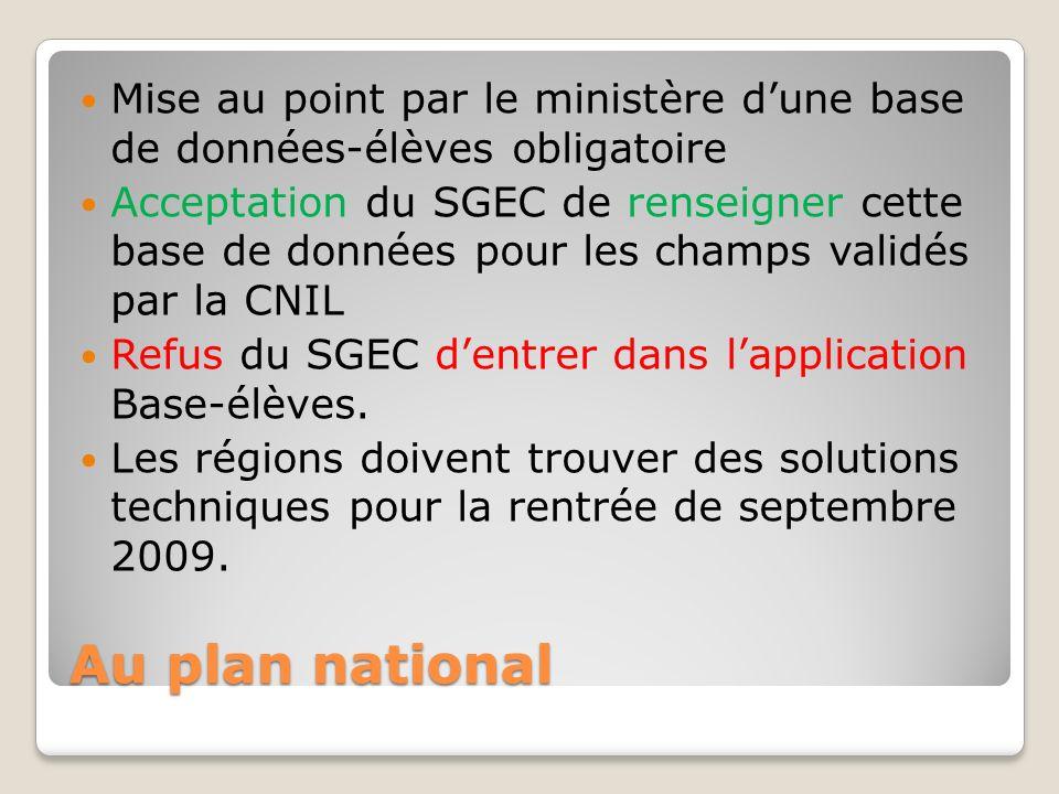 Au plan national Mise au point par le ministère dune base de données-élèves obligatoire Acceptation du SGEC de renseigner cette base de données pour les champs validés par la CNIL Refus du SGEC dentrer dans lapplication Base-élèves.