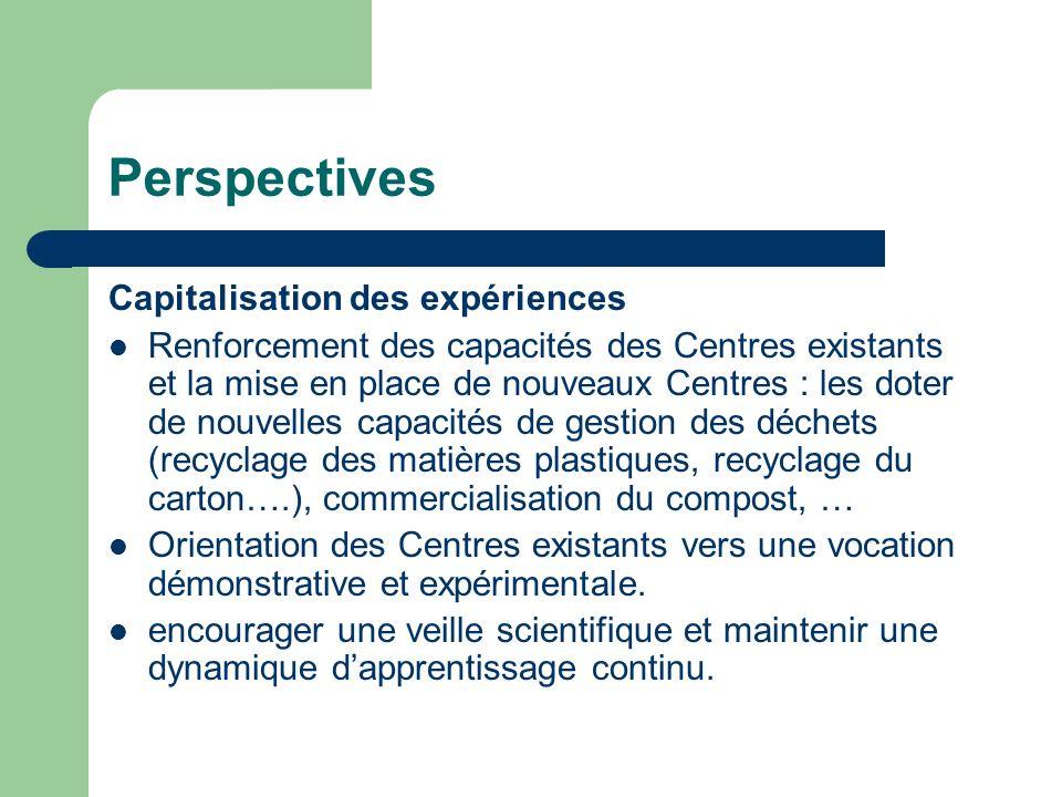 Perspectives Capitalisation des expériences Renforcement des capacités des Centres existants et la mise en place de nouveaux Centres : les doter de no