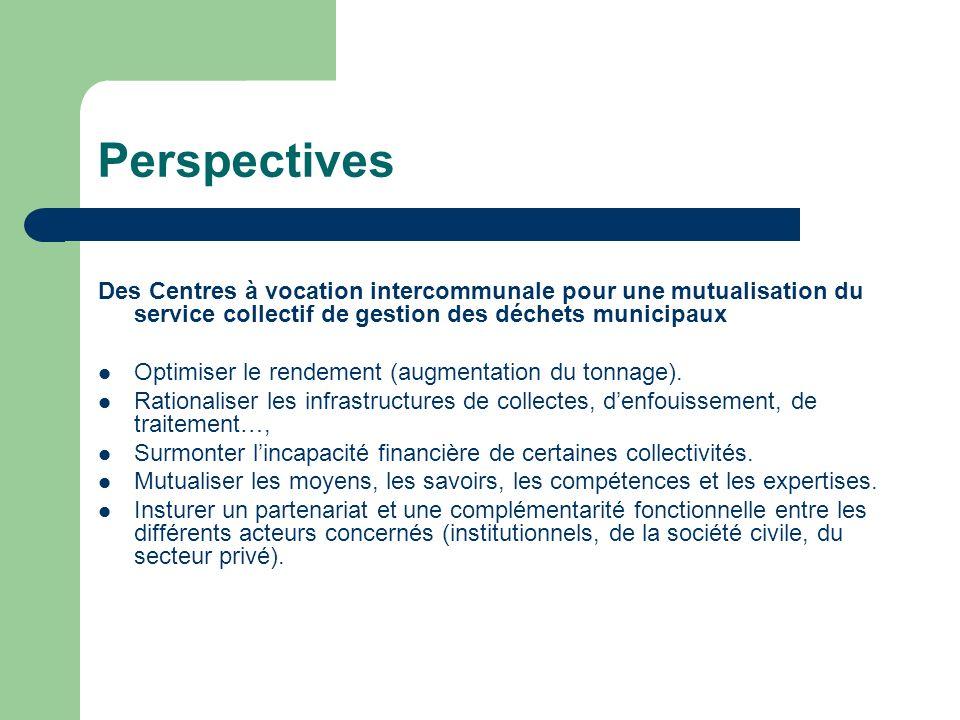 Perspectives Des Centres à vocation intercommunale pour une mutualisation du service collectif de gestion des déchets municipaux Optimiser le rendemen