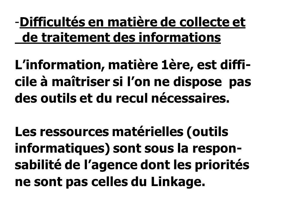 -Difficultés en matière de collecte et de traitement des informations Linformation, matière 1ère, est diffi- cile à maîtriser si lon ne dispose pas des outils et du recul nécessaires.
