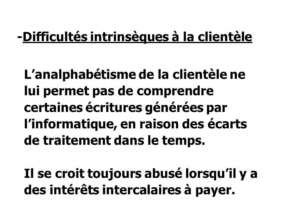 -Difficultés intrinsèques à la clientèle Lanalphabétisme de la clientèle ne lui permet pas de comprendre certaines écritures générées par linformatique, en raison des écarts de traitement dans le temps.