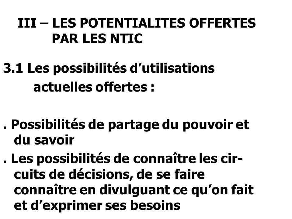 III – LES POTENTIALITES OFFERTES PAR LES NTIC 3.1 Les possibilités dutilisations actuelles offertes :.