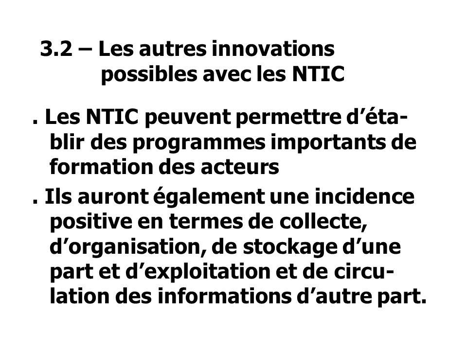 3.2 – Les autres innovations possibles avec les NTIC.
