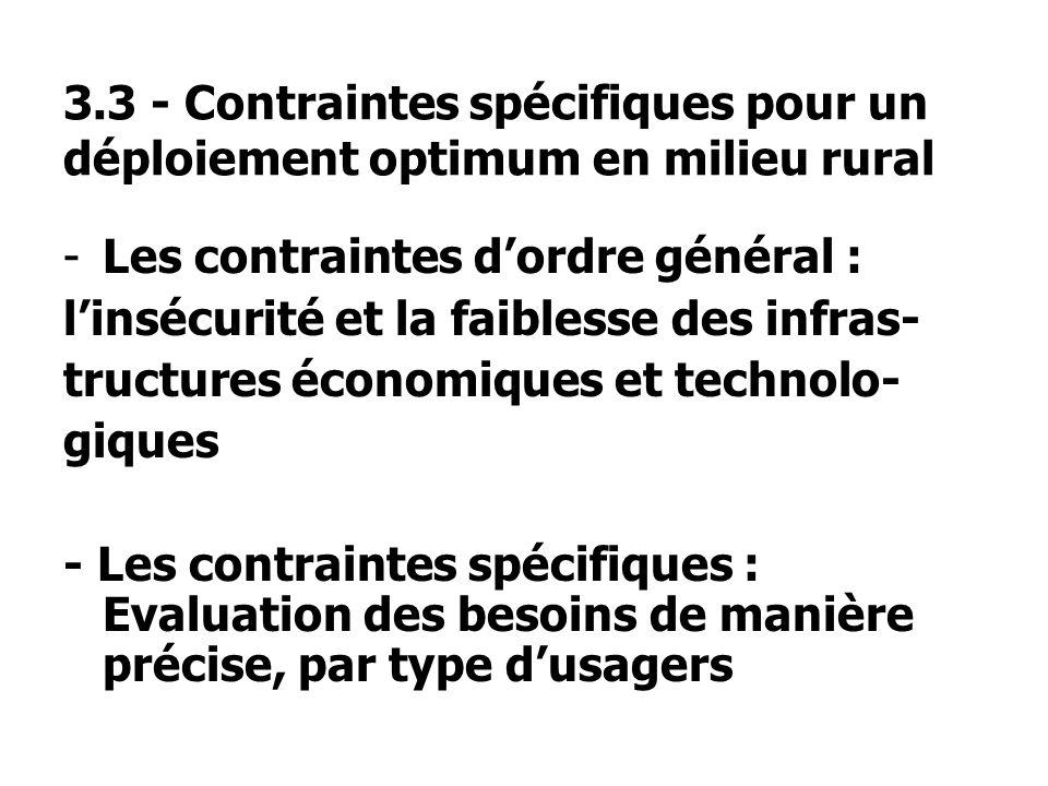 3.3 - Contraintes spécifiques pour un déploiement optimum en milieu rural -Les contraintes dordre général : linsécurité et la faiblesse des infras- tructures économiques et technolo- giques - Les contraintes spécifiques : Evaluation des besoins de manière précise, par type dusagers