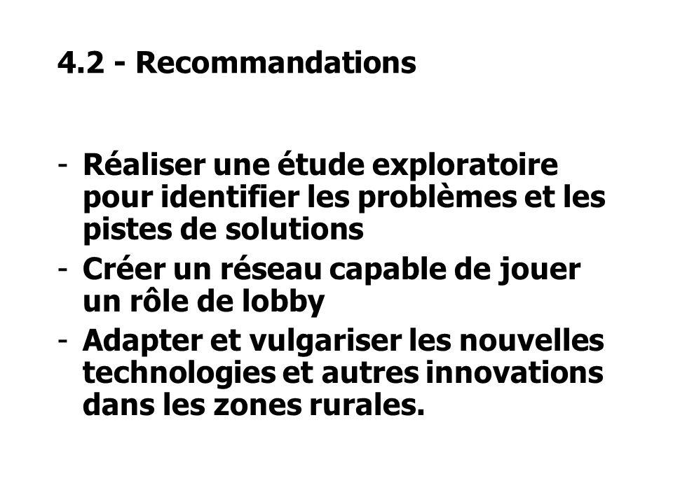 4.2 - Recommandations -Réaliser une étude exploratoire pour identifier les problèmes et les pistes de solutions -Créer un réseau capable de jouer un rôle de lobby -Adapter et vulgariser les nouvelles technologies et autres innovations dans les zones rurales.