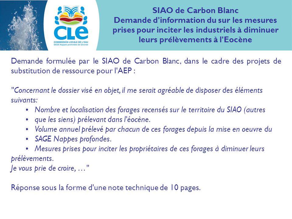SIAO de Carbon Blanc Demande d'information du sur les mesures prises pour inciter les industriels à diminuer leurs prélèvements à l'Eocène Demande for