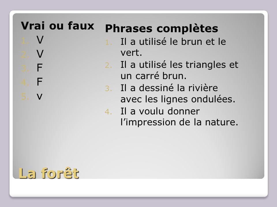 La forêt Vrai ou faux 1. V 2. V 3. F 4. F 5. v Phrases complètes 1.