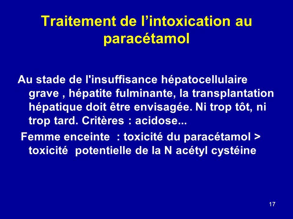 17 Traitement de lintoxication au paracétamol Au stade de l'insuffisance hépatocellulaire grave, hépatite fulminante, la transplantation hépatique doi