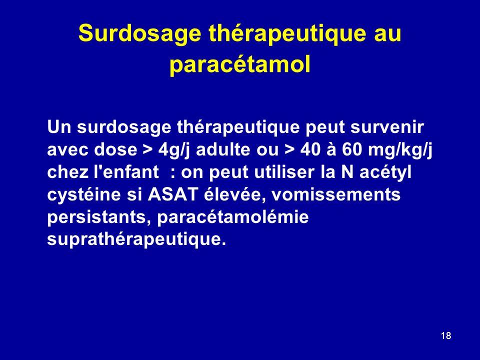 18 Surdosage thérapeutique au paracétamol Un surdosage thérapeutique peut survenir avec dose > 4g/j adulte ou > 40 à 60 mg/kg/j chez l'enfant : on peu
