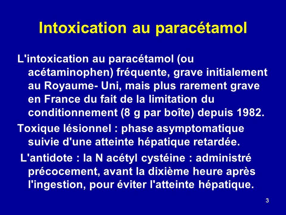 3 Intoxication au paracétamol L'intoxication au paracétamol (ou acétaminophen) fréquente, grave initialement au Royaume- Uni, mais plus rarement grave