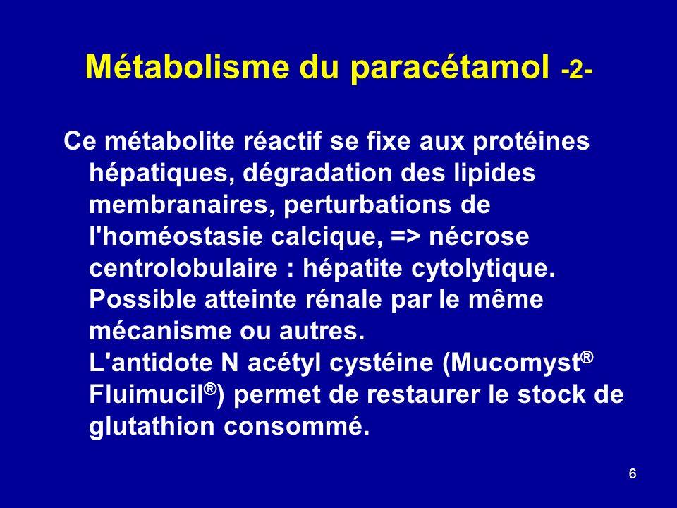 6 Métabolisme du paracétamol -2- Ce métabolite réactif se fixe aux protéines hépatiques, dégradation des lipides membranaires, perturbations de l'homé