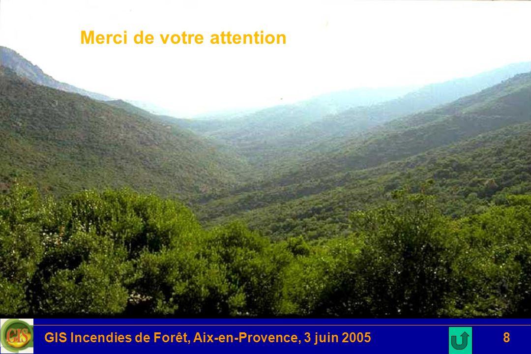 GIS Incendies de Forêt, Aix-en-Provence, 3 juin 20058 Merci de votre attention