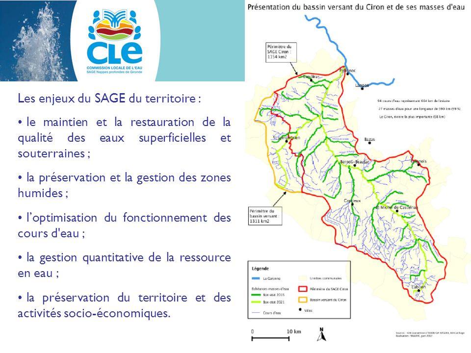 Les enjeux du SAGE du territoire : le maintien et la restauration de la qualité des eaux superficielles et souterraines ; la préservation et la gestion des zones humides ; loptimisation du fonctionnement des cours d eau ; la gestion quantitative de la ressource en eau ; la préservation du territoire et des activités socio-économiques.