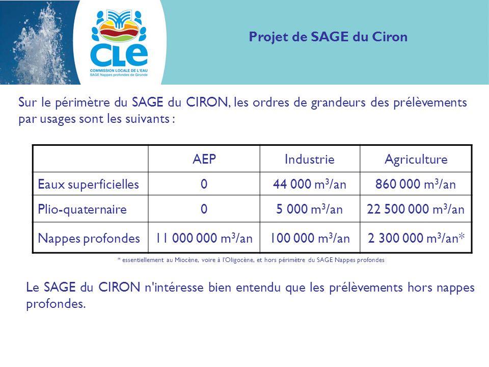 Sur le périmètre du SAGE du CIRON, les ordres de grandeurs des prélèvements par usages sont les suivants : Projet de SAGE du Ciron AEPIndustrieAgriculture Eaux superficielles044 000 m 3 /an860 000 m 3 /an Plio-quaternaire05 000 m 3 /an22 500 000 m 3 /an Nappes profondes11 000 000 m 3 /an100 000 m 3 /an2 300 000 m 3 /an* Le SAGE du CIRON n intéresse bien entendu que les prélèvements hors nappes profondes.