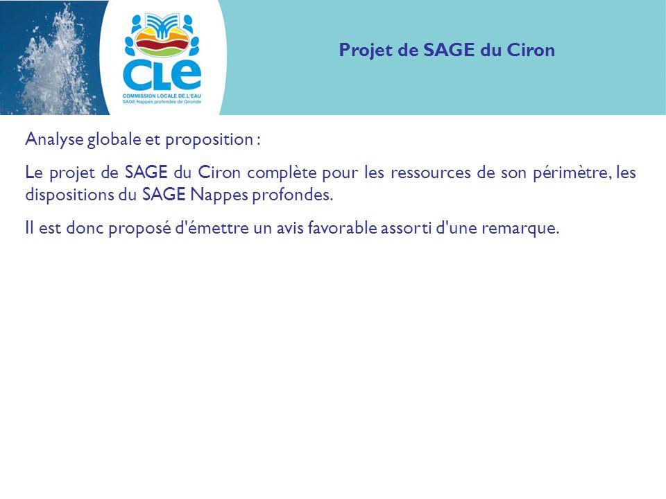 Analyse globale et proposition : Le projet de SAGE du Ciron complète pour les ressources de son périmètre, les dispositions du SAGE Nappes profondes.