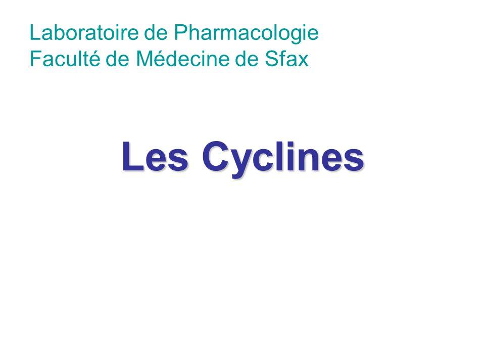 Introduction Cyclines: action bactériostatique Bonne diffusion tissulaire et cellulaire => actifs: sur des germes à développement intracellulaire: rickettsies, mycoplasme, chlamydia.
