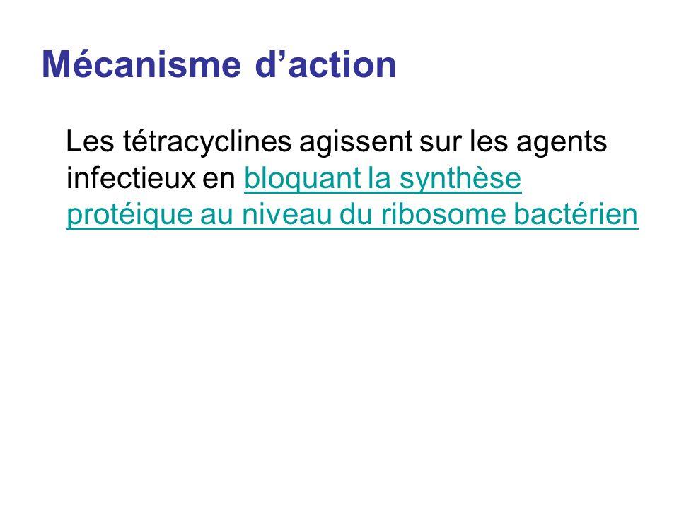 Mécanisme daction Les tétracyclines agissent sur les agents infectieux en bloquant la synthèse protéique au niveau du ribosome bactérienbloquant la sy