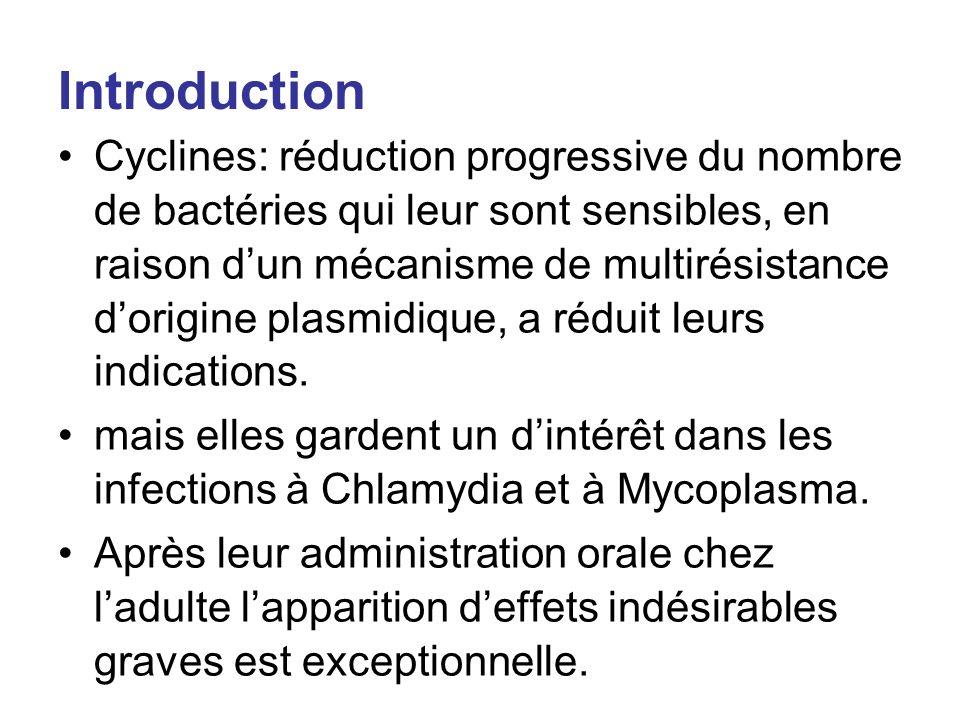 Introduction Cyclines: réduction progressive du nombre de bactéries qui leur sont sensibles, en raison dun mécanisme de multirésistance dorigine plasm