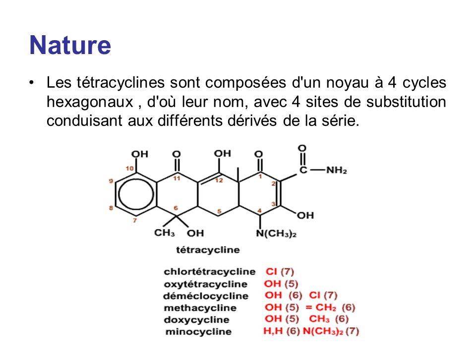 Nature Les tétracyclines sont composées d'un noyau à 4 cycles hexagonaux, d'où leur nom, avec 4 sites de substitution conduisant aux différents dérivé