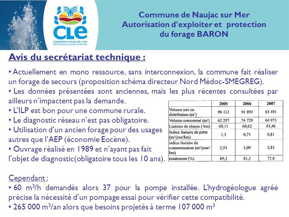 Avis du secrétariat technique : Actuellement en mono ressource, sans interconnexion, la commune fait réaliser un forage de secours (proposition schéma directeur Nord Médoc-SMEGREG).