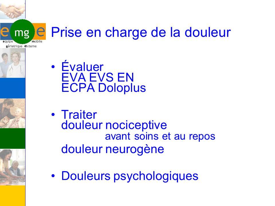 Prise en charge de la douleur Évaluer EVA EVS EN ECPA Doloplus Traiter douleur nociceptive avant soins et au repos douleur neurogène Douleurs psycholo