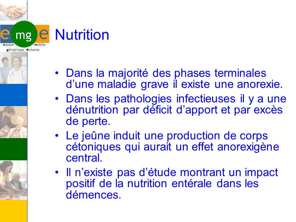 Nutrition Dans la majorité des phases terminales dune maladie grave il existe une anorexie. Dans les pathologies infectieuses il y a une dénutrition p