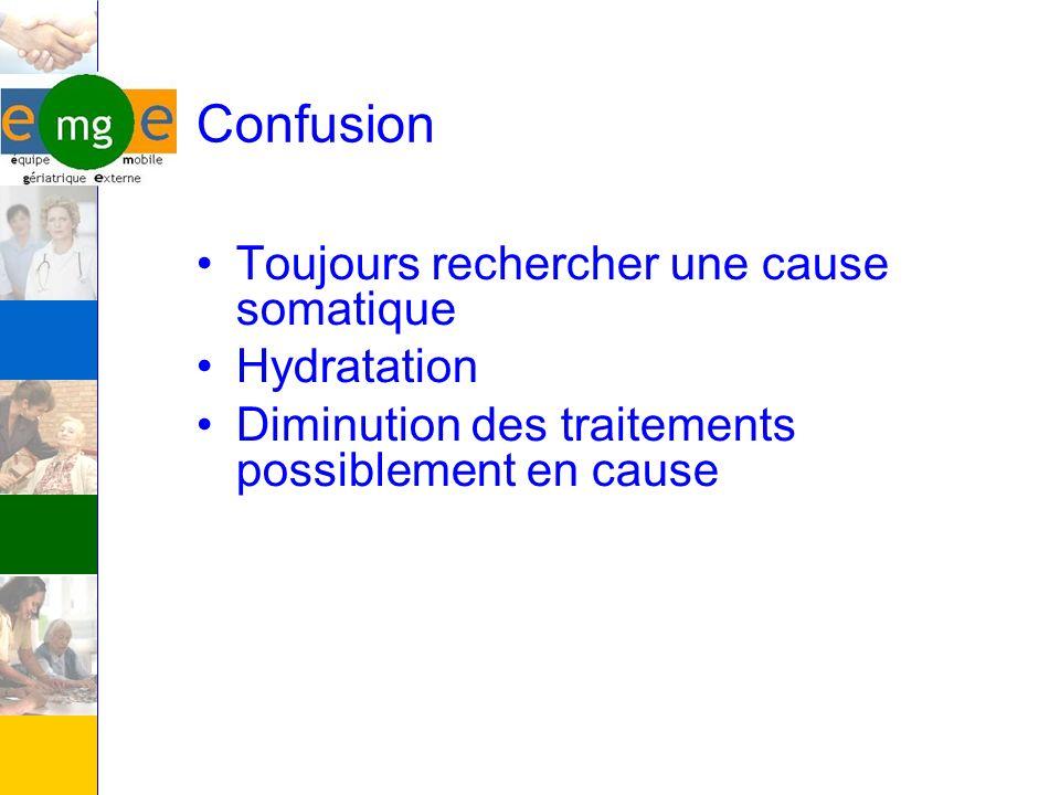 Confusion Toujours rechercher une cause somatique Hydratation Diminution des traitements possiblement en cause